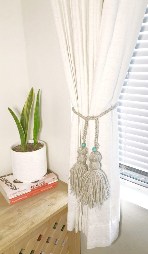 DIY Braided Yarn Curtain Tiebacks with Tassels diy